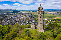 Aerial view of the National Wallace Monument  tower  on Abbey Craig, Memorial to William Wallace, Stirling, Scotland,UK