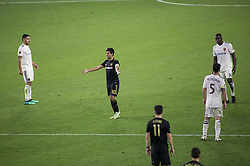 November 1, 2018 - Los Angeles, California, U.S - Carlos Vela #10 of the LAFC questions the lag in putting the ball in play in overtime of their MLS playoff game with the Real Salt Lake on Thursday November 1, 2018 at Banc of California Stadium in Los Angeles, California. LAFC vs Real Salt Lake. (Credit Image: © Prensa Internacional via ZUMA Wire)