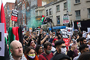 Thousands turn out in protest against the increasing use of military force by Israel and in support of Gaza on the 15th of May 2021, London, United Kingdom. The demonstration outside the Israeli embassy in Kensington High Street.The escalating war between Israel and Hamas in Gaza is increasingly costing lives and the up to 100.000 protesters were calling for Israel to stop bombing Gaza and for a free Palestine.