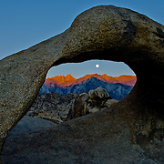 The scenic Alabama Hills nestled against the Eastern Sierra feature fantastic stone arches and wonderful views of Mt. Whitney, highest mountain in the contiguous 48 states. Mt. Whitney is seen through Mobius Arch.