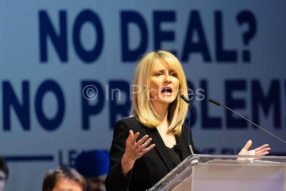 Conservative Party MP Esther McVey speaking at a 'Brexit:Let's Go WTO Rally' organised by the Leave Means Leave campaign in Westminster, London, UK on January 17, 2019 where leading business and political Brexiteers discussed why WTO rules will allow Great Britain to thrive outside the European Union after Brexit.