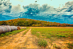 A row of hay bales leads the eye through the field and down the dirt road towards a forest of autumn colors under rough skies of blue just outside New Melle, Missouri.