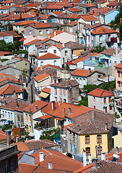 View of town of Agiassos on Lesvos Island in Greece
