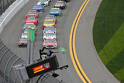 February 10, 2019 - Daytona, FL, U.S. - DAYTONA, FL - FEBRUARY 10: The green flag waves to start the Advance Auto Parts Clash on February 10, 2019 at Daytona International Speedway in Daytona Beach, FL. (Photo by David Rosenblum/Icon Sportswire) (Credit Image: © David Rosenblum/Icon SMI via ZUMA Press)