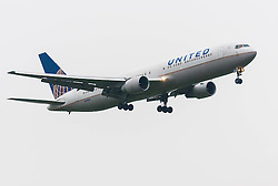 London Heathrow Airport, November 16th 2014. A United Airlines Boeing 767-300 reg. N643UA moments before touchdown on London Heathrow's runway 09L