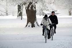 © under license to London News Pictures.  19/12/2010 Residents cycle through Pershore park in Worcestershire today (19/12/2010). Temperatures plummeted to minus 19 last night, making it one of the coldest places in England. Picture credit should read: David Hedges/LNP