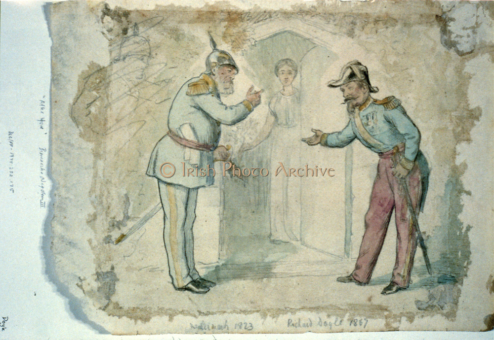 'After you' Bismarck and Louis Napoleon motion simultaneously to each other to enter the door of peace first. A female figure holding an olive branch, opens the door. drawing : black ink, pencil, and watercolor on off-white wove paper. 1867. By  Richard Doyle1824-1883, artist.