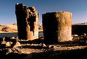 PERU, LAKE TITICACA Aymara Culture, 1000AD pre-Inca, tombs called Chullpas at Sillustani near Puno