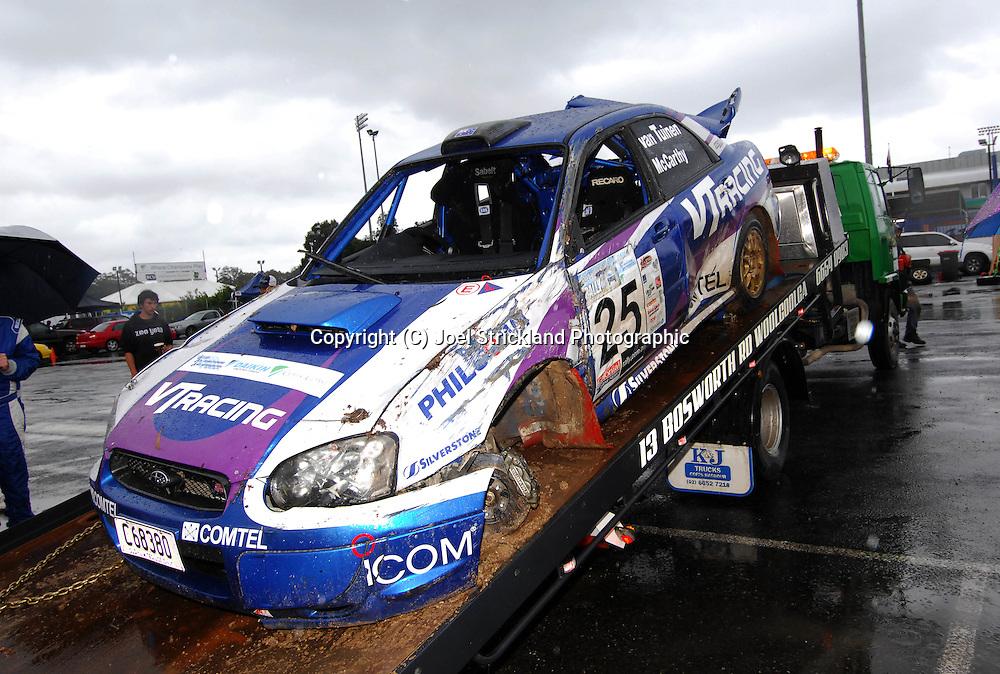 Matt Van Tuinen & John McCarthy car after accident.Motorsport-Rally/2008 Coffs Coast Rally.Heat 2.Coffs Harbour, NSW.16th of November 2008.(C) Joel Strickland Photographics