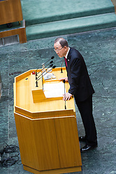 28.04.2016, Parlament, Wien, AUT, Parlament, Nationalratssitzung, Besuch des UNO-Generalsekretärs im Nationalrat, im Bild UNO Generalsekretaer Ban Ki-moon // General Secretary of the United Nation Organisation Ban Ki-moon during visit of the secretary general of the united nations at the meeting of the National Council of austria at austrian parliament in Vienna, Austria on 2016/04/28, EXPA Pictures © 2016, PhotoCredit: EXPA/ Michael Gruber
