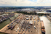 Nederland, Zuid-Holland, Rotterdam, 15-07-2012; Waalhaven met containerterminals en containeroverslag..Container storage and transshipment Waalhaven (Waal harbour) of the Port of Rotterdam..luchtfoto (toeslag), aerial photo (additional fee required).foto/photo Siebe Swart
