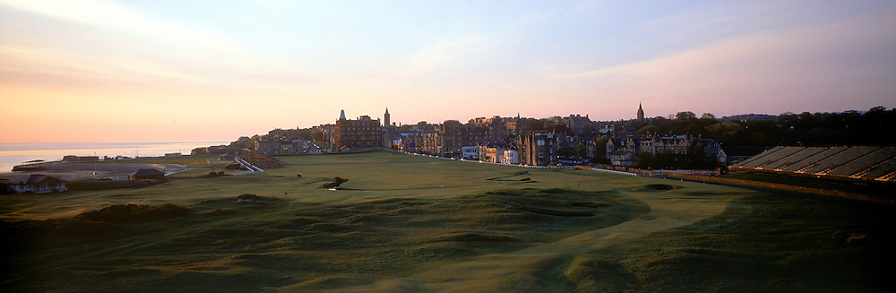 Panoramic Time Lapse feature on St Andrews,Old Course,St Andrews,Fife,Scotland.Picture 2,April,2005, shows preparations begin for The Open Championship as the stands go up at the 17th - par 4 'Road Hole'.