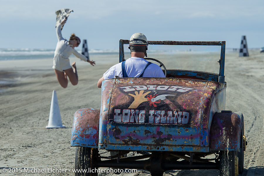 At the starting line of the beach sand drags at the Race of Gentlemen. Wildwood, NJ, USA. October 10, 2015.  Photography ©2015 Michael Lichter.