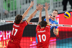 Tine Urnaut of Slovenia vs Tomas Rousseaux of Belgium and Simon Van de Voorde of Belgium during volleyball match between National teams of Slovenia and Belgium in 2nd Round of 2018 FIVB Volleyball Men's World Championship qualification, on May 28, 2017 in Arena Stozice, Ljubljana, Slovenia. Photo by Morgan Kristan / Sportida