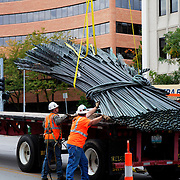 """Removal of """"Sheaves of Wheat"""" metal sculpture by Belger Cartage from the exterior of the Kansas City Board of Trade building after acquisition and closure by CME Group. The sculpture was donated to Powell Gardens."""