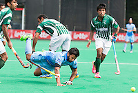 ANTWERP -  Manpreet Singh of India has been stopped   during  the hockeymatch   India v Pakistan.  WSP COPYRIGHT KOEN SUYK