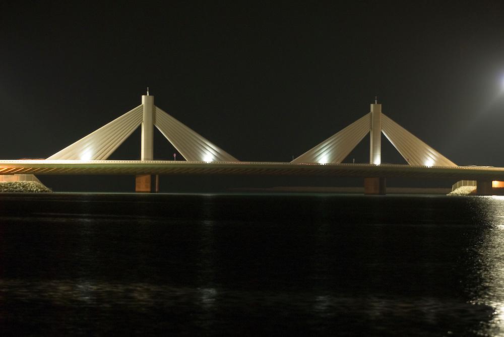 Bahrain, Manama City , Sheikh Isa Causeway Bridge at night