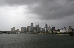 A cloudy Miami skyline as the outer bands of Hurricane Irma reach South Florida early on Saturday, September 9, 2017. Photo by David Santiago/El Nuevo Herald/TNS/ABACAPRESS.COM