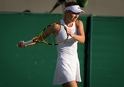 July 1, 2019 - London, GREAT BRITAIN - Caroline Wozniacki of Denmark in action during her first round match at the 2019 Wimbledon Championships Grand Slam Tennis Tournament against Sara Sorribes Tormo of Spain (Credit Image: © AFP7 via ZUMA Wire)