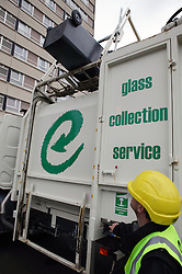 Man collecting glass for Emerge Recycling; Manchester,