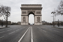March 17, 2020, Paris, France: The Arc de Triomphe. during confinement in France to fight against the coronavirus (Credit Image: © Adrien Vautier/Le Pictorium Agency via ZUMA Press)