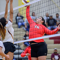 Crownpoint Eagle Melyse Harlan (14), right, spikes to the Rehoboth Lynx at Rehoboth High School Wednesday.