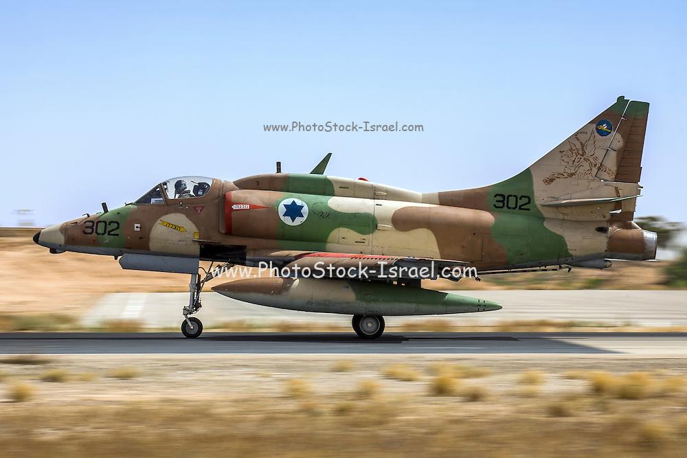 Israeli Air Force (IAF) Mcdonnell-Douglas A-4 Skyhawk (Ayit) fighter jet at takeoff