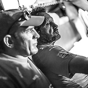 Leg 6 to Auckland, day 17 on board MAPFRE, Xabi Fernandez and Joan Vila talking about strategy. 22 February, 2018.