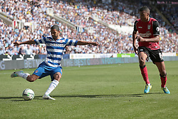Reading's Jobi McAnuff and Ipswich Town's Tyrone Mings - Photo mandatory by-line: Nigel Pitts-Drake/JMP - Tel: Mobile: 07966 386802 03/08/2013 - SPORT - FOOTBALL -  Madejski Stadium - Reading -  Reading v Ipswich Town - Sky Bet Championship