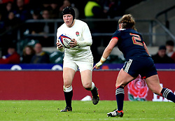 Rochelle Clark of England runs with the ball - Mandatory by-line: Robbie Stephenson/JMP - 04/02/2017 - RUGBY - Twickenham - London, England - England v France - Women's Six Nations