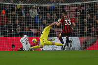 Football - 2019 / 2020 Premier League - AFC Bournemouth vs. Liverpool<br /> <br /> Alex Oxlade-Chamberlain of Liverpool pounces on a long ball to toe poke Liverpool into the lead at the Vitality Stadium (Dean Court) Bournemouth <br /> <br /> COLORSPORT/SHAUN BOGGUST