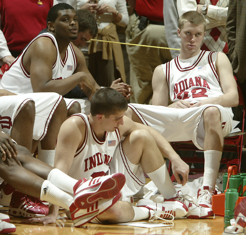 05 March 2008: Indiana forward Mike White (30) Indiana guard  Adam Ahlfeld (34) Indiana forward Lance Stemler (22) as the Indiana Hoosiers played the Minnesota Golden Gophers in a college basketball game in East Lansing, Mich.