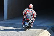 #93 Marc Marquez, Spanish: Repsol Honda Team gets a lift back to the pits after crashing from manager Emilio Alzamoura during the Gran Premio Motul de la Comunitat Valenciana at Circuito Ricardo Tormo Cheste, Valencia, Spain on 16 November 2019.