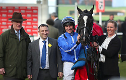 Jockey Paul Townend (centre) and Trainer Willie Mullins (left) celebrate winning the Sun Bets Slayers Hurdle Race with Penhill during St Patrick's Thursday of the 2018 Cheltenham Festival at Cheltenham Racecourse.