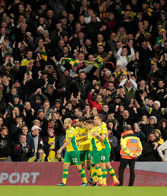 Norwich City celebrate going 2-0 ahead<br /> <br /> Photographer David Shipman/CameraSport<br /> <br /> The EFL Sky Bet Championship - Norwich City v Bolton Wanderers - Saturday 8th December 2018 - Carrow Road - Norwich<br /> <br /> World Copyright © 2018 CameraSport. All rights reserved. 43 Linden Ave. Countesthorpe. Leicester. England. LE8 5PG - Tel: +44 (0) 116 277 4147 - admin@camerasport.com - www.camerasport.com