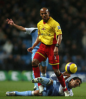 Photo: Paul Thomas.<br /> Manchester City v Watford. The Barclays Premiership. 04/12/2006.<br /> <br /> Bernardo Corradi of Man City (Ground) is fouled by Jordan Stewart (3) of Watford.