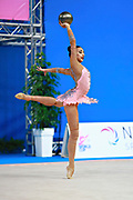 Russo Alessia during qualifying ball at the Pesaro World Cup April 1, 2016. Alessia is an Italian individual rhythmic gymnast, she was born in September 24 1996 Figline Valdarno, Italy.