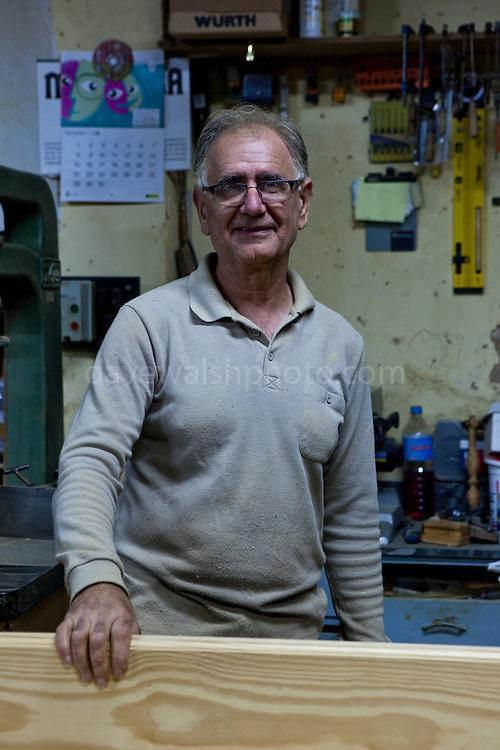 Jeroni, Reus, Rotger, artisanal carpenter and woodworker in his workshop in Caimari, Mallorca.