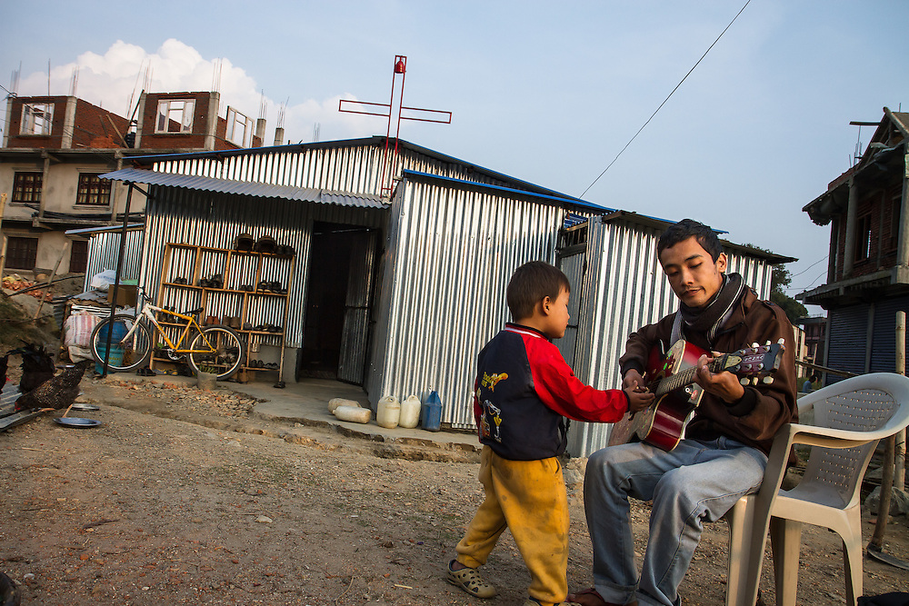 Before the earthquake, Ashish Gurung lived with his parents in a rented brick house, where they ran a church and orphanage. Today, they feel much safer, sleeping on the floor of the tin-sided church they built in Kavresthali, outside Kathmandu, which houses their ministries.