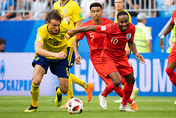 July 7, 2018 - Samara, Russia - 180707 Albin Ekdal of Sweden and Raheem Sterling of England competes for the ball during the FIFA World Cup quarter final match between Sweden and England on July 7, 2018 in Samara..Photo: Petter Arvidson / BILDBYRÃ…N / kod PA / 92083 (Credit Image: © Petter Arvidson/Bildbyran via ZUMA Press)