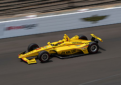 May 20, 2018 - Indianapolis, IN, U.S. - INDIANAPOLIS, IN - MAY 20: Helio Castroneves, driver of the #3 Pennzoil Team Penske Chevrolet, on the track for the practice session during Pole Day for the Indianapolis 500, on May 20, 2018 at the Indianapolis Motor Speedway in Indianapolis, IN (Photo by Khris Hale/Icon Sportswire) (Credit Image: © Khris Hale/Icon SMI via ZUMA Press)
