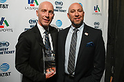 Los Angeles Football Club head coach Bob Bradley poses for a photo with LA Sports Council chairman Dave Klewan after being named LA Sports Council coach of the year during the 15th LA Sports Awards, Thursday, Feb. 20 2020, in Beverly Hills, Calif. (Dylan Stewart/Image of Sport)
