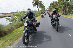 Jason Michaels and Leticia Cline riding through Tomoka State Park during Daytona Bike Week 75th Anniversary event. FL, USA. Thursday March 3, 2016.  Photography ©2016 Michael Lichter.