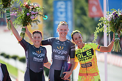 Top three: Jolien D'hoore, Chloe Hosking and Marta Bastianelli at Madrid Challenge by La Vuelta an 87km road race in Madrid, Spain on 11th September 2016.