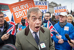 DATE CORRECTION © Licensed to London News Pictures. 15/01/2019. London, UK.  Former UKIP leader Nigel Farage reacts to a question from a Norwegian TV reporter outside Parliament on the day that MP's will vote on British Prime Minster Theresa May's proposed withdrawal agreement with the European Union. Photo credit: Peter Macdiarmid/LNP