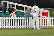Muhammad Abbas talking to young fans during the Specsavers County Champ Div 2 match between Leicestershire County Cricket Club and Derbyshire County Cricket Club at the Fischer County Ground, Grace Road, Leicester, United Kingdom on 28 May 2019.