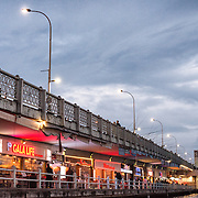 Spanning the Golden Horn and linking Eminonu with Karakoy, the Galata Bridge is a dual-level bridge that handles road, tram, and pedestrian traffic on the top level with restaurants and bars on the level below.
