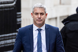© Licensed to London News Pictures. 29/01/2019. London, UK. Secretary of State for Exiting the European Union Stephen Barclay leaves Downing Street. Later today British Prime Minister Theresa May will open a debate in the House of Commons on amendments to her plan for Brexit, which could shape future talks with the EU. Photo credit : Tom Nicholson/LNP