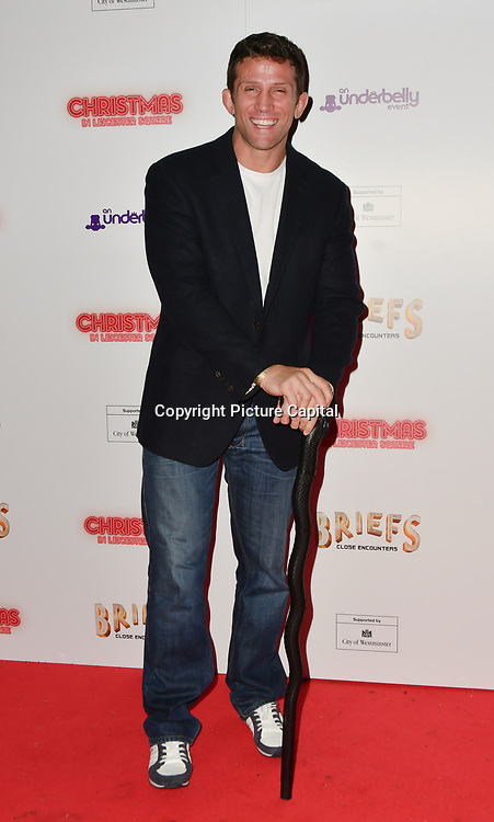 Alex Reid attends Briefs: Close Encounters - press night an All-male 'Boylesque' group show off their circus skills, drag acts and raucous comedy routines at The Spiegeltent Leicester Square on 14 November 2018, London, UK.
