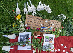 © Licensed to London News Pictures;10/04/2021; Bristol, UK. A vigil takes place on Brandon Hill for Bennylyn Burke aged 25 and her two-year-old daughter Jellica during the Covid-19 coronavirus pandemic in England. Bennylyn and Jellica lived in Kingswood near Bristol and their bodies were discovered in Troon Avenue, Dundee, on Thursday, March 18. Bennylyn moved to the UK from the Philippines in 2019 for a better life, and a man Andrew Innes is accused of their murder. Photo credit: Simon Chapman/LNP.